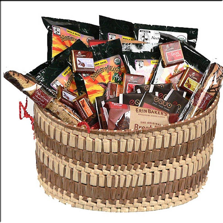Gourmet coffee gift basket with organic fair trade