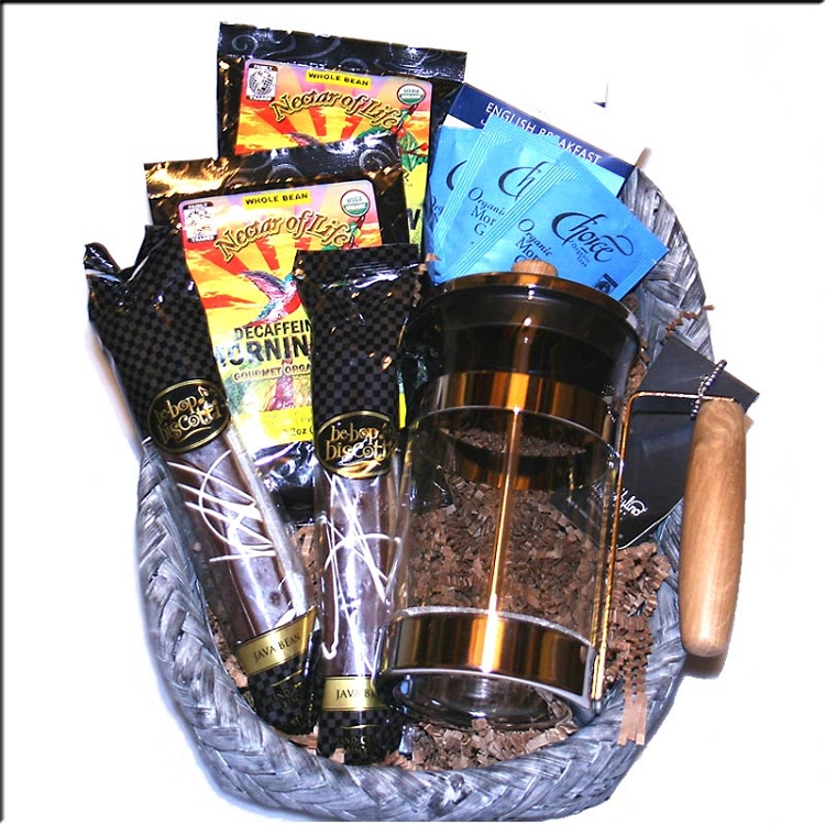 Fair trade organic coffee gift basket with a french press