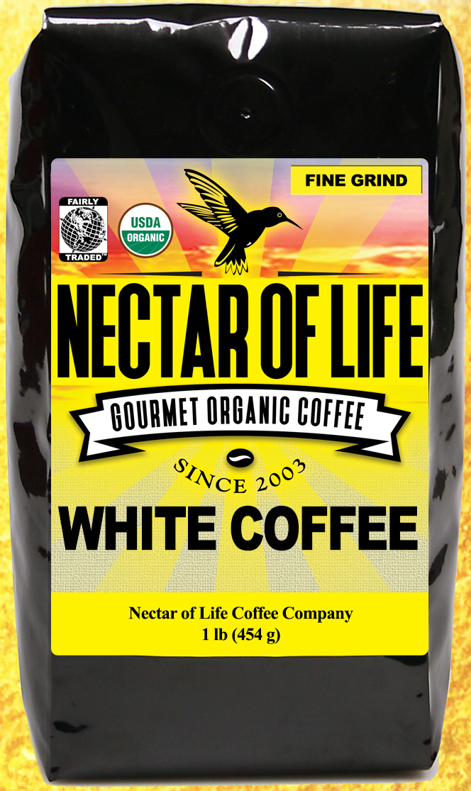 White Coffee - Organic Fair Trade American White Coffee Espresso Grind 1 lb.