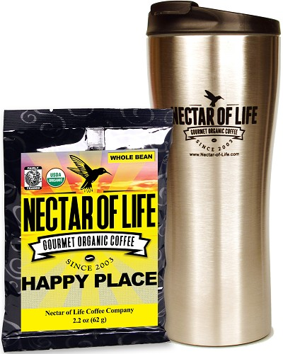 Stainless Steel Travel Coffee Mug with Coffee Sample