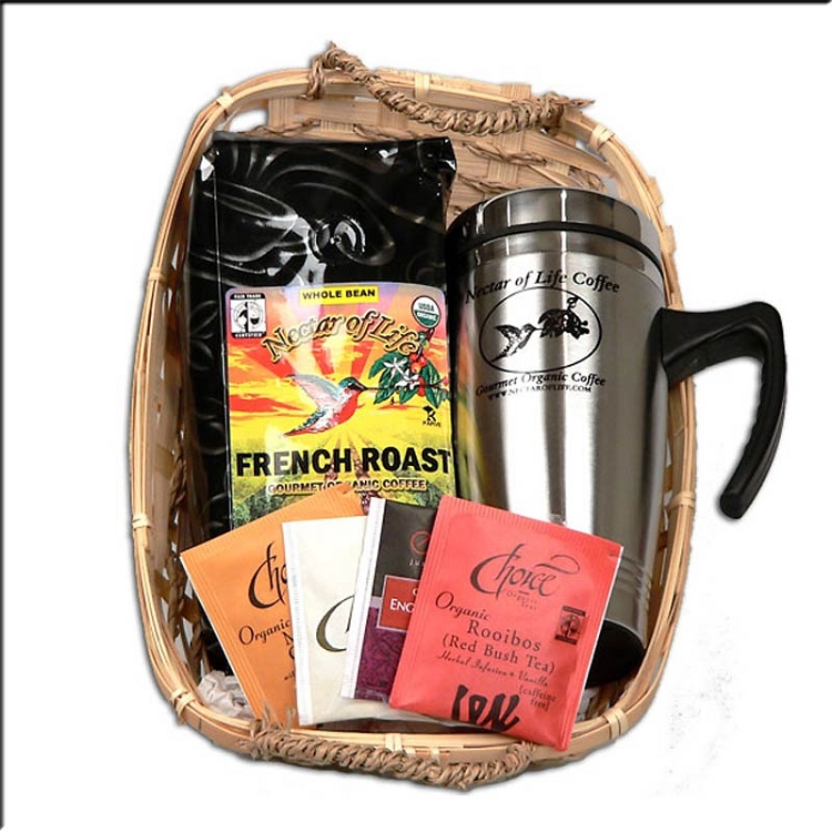Gourmet Organic Fair Trade Coffee And Tea Gift Basket With
