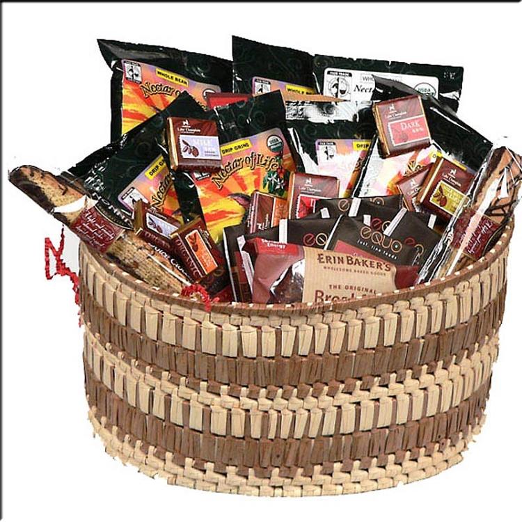 Gourmet Coffee Gift Basket With Organic Fair Trade Chocolates And Teas
