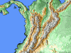 Satellite Map of the Colombian Coffee Growing Region of Quinchia