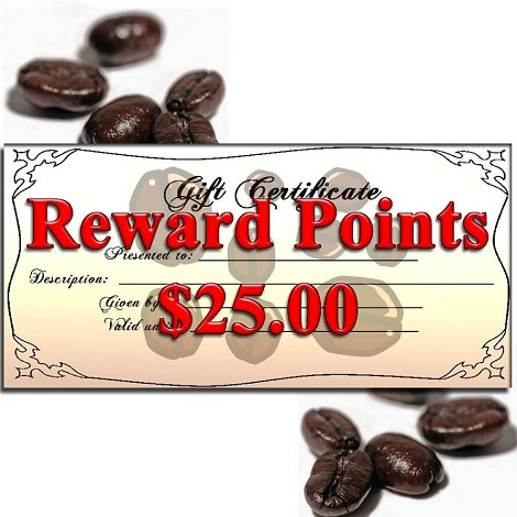 Gift Certificate for Reward Points $25.00
